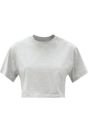 x karla The Crop Cropped Cotton-jersey T-shirt - Womens - Grey