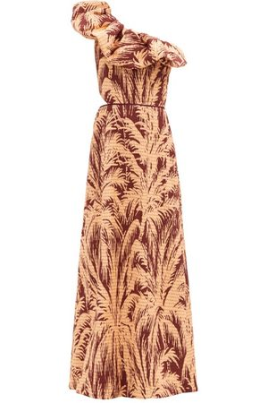 JOHANNA ORTIZ Quiet Corners One-shoulder Cotton-blend Gown - Womens - Print