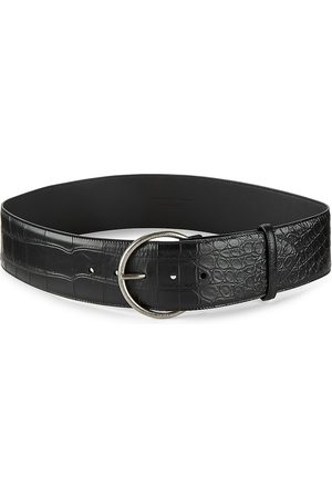 Saint Laurent Women's Croc-Embossed Antiqued Silver Leather Belt - - Size 70 (XS)
