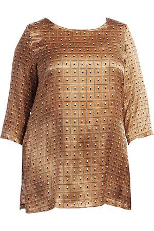 Persona by Marina Rinaldi Women's Forte Satin Silk Print Tunic Top - - Size 14 W