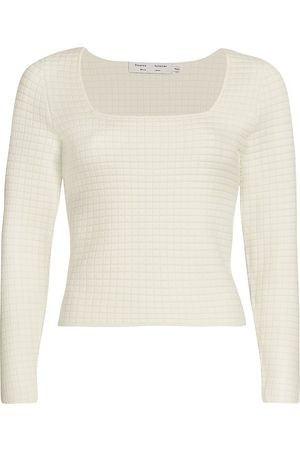 PROENZA SCHOULER WHITE LABEL Women's Quilted Squareneck Knit Top - - Size XL