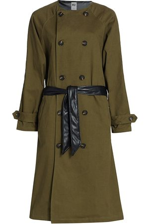 NSF Women's Gladys Contrast Faux Leather Belted Trench Coat - - Size Small
