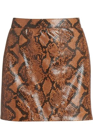 Givenchy Women's Snakeskin-Print Leather Mini Skirt - Mustard - Size 10