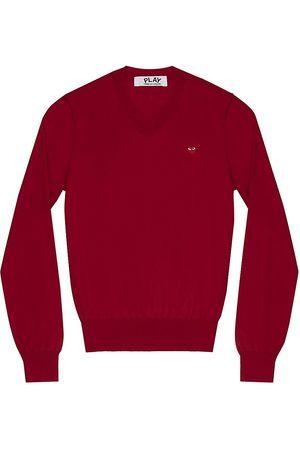 Comme des Garçons Women's V-Neck Wool Heart Sweater - - Size Small