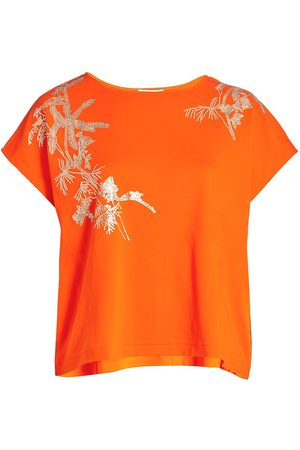 Joan Vass Women's Embroidered Leaf Big T-Shirt - - Size 1X (14-16)