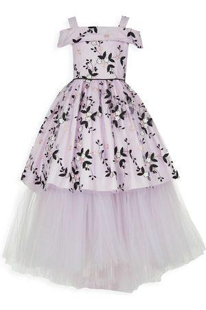 Badgley Mischka Girl's Cold-Shoulder Floral Mesh Gown - - Size 8