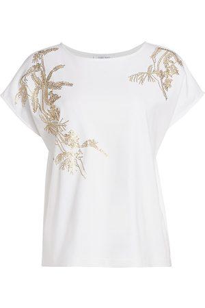 Joan Vass Women's Petite Sequin-Embroidered Cotton T-Shirt - - Size 2P (Petite Medium)