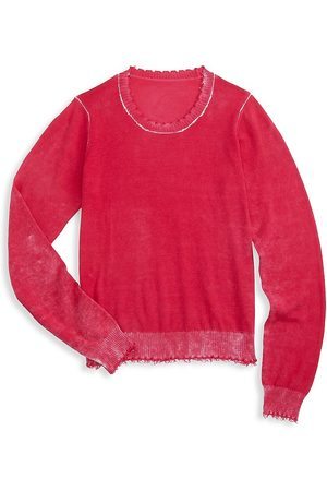 MINNIE ROSE Girl's Reversed Frayed Crewneck Sweater - - Size 14