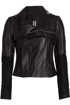 Rick Owens Women Leather Jackets - Women's Larry Leather Biker Jacket - - Size 46 (10)