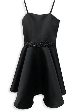 Un Deux Trois Girl's Satin Fit-&-Flare Dress - - Size 10
