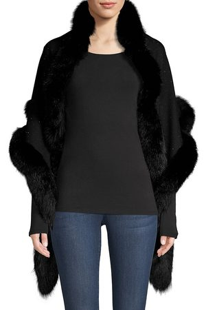 Sofia Cashmere Women's Sequin Fox Fur-Trim Cashmere & Silk Shawl