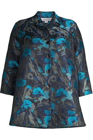 Caroline Rose Women's Printed City Topper Coat - - Size 1X (14-16)