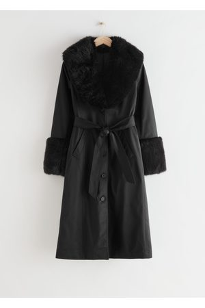 & OTHER STORIES Long Belted Fitted Faux Fur Coat
