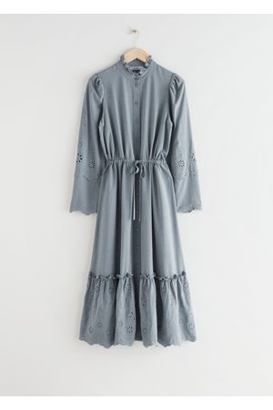 & OTHER STORIES Embroidered Button Up Scallop Midi Dress - Grey
