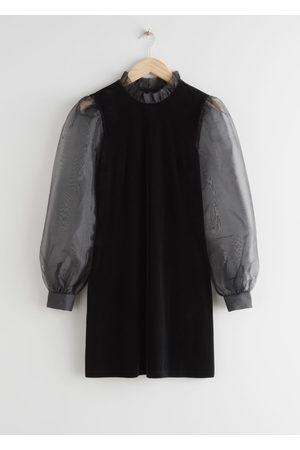 & OTHER STORIES Organza Sleeve Velvet Mini Dress
