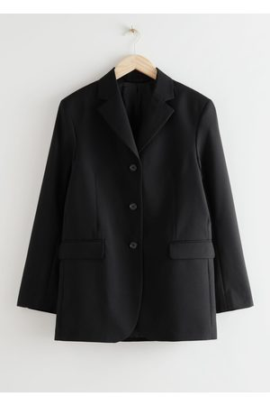& OTHER STORIES Long Fitted Padded Shoulder Wool Blazer