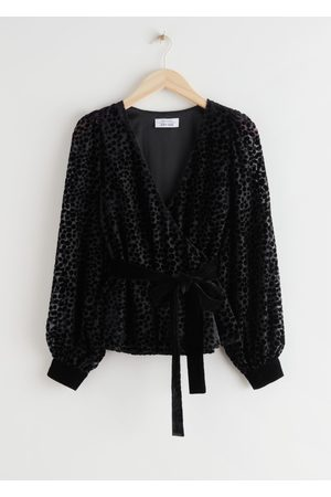 & OTHER STORIES Velvet Mesh Wrap Top
