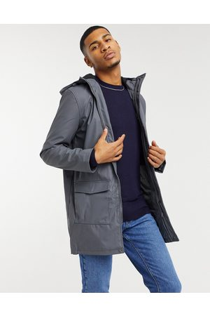 French Connection Coated hooded fleece lined parka coat in dark -Grey