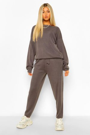 Boohoo Womens Tall Slash Neck Knitted Lounge Set - - S