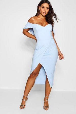 Boohoo Womens Off The Shoulder Wrap Skirt Midi Dress - - 4