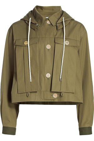 Loewe Women's Hooded Military Cropped Jacket - - Size Large