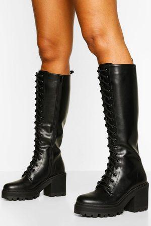 Boohoo Womens Knee High Lace Up Chunky Hiker Boot - - 5