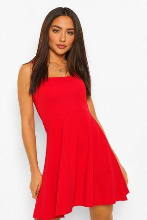 Boohoo Women Casual Dresses - Womens Square Neck Skater Dress - - 4