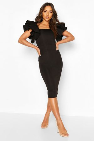 Boohoo Womens Bonded Scuba Ruffle Sleeve Midi Dress - - 4