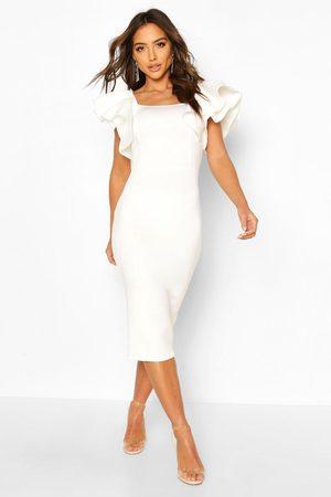 Boohoo Womens Bonded Scuba Ruffle Sleeve Midi Dress - - 4
