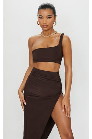 PRETTYLITTLETHING Chocolate Slinky One Shoulder Crop Top