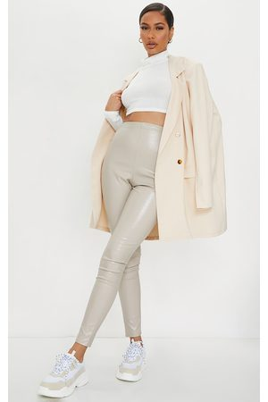 PRETTYLITTLETHING Stone Croc Faux Leather Skinny Pants