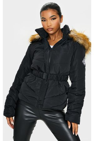 PRETTYLITTLETHING Belted Faux Fur Hooded Quilted Parka Coat