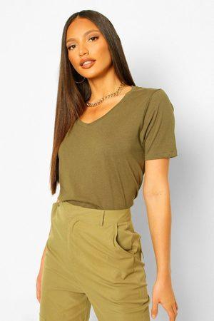 Boohoo Womens Tall V-Neck Cotton T-Shirt - - 2