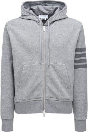 Thom Browne Tonal 4 Bar Cotton Sweatshirt Hoodie