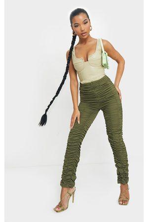 PRETTYLITTLETHING Khaki Ruched Leg Woven Skinny Pants