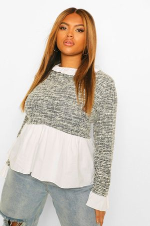 Boohoo Womens Plus Boucle Contrast Collar And Cuff Top - - 12