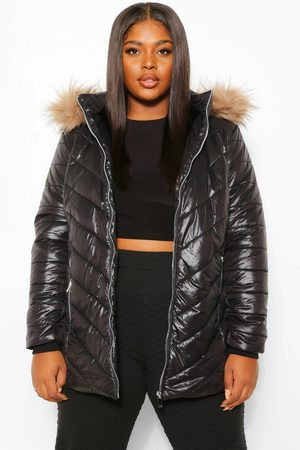 Boohoo Womens Plus Faux Fur Trimmed Puffer Coat - - 12