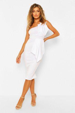 Boohoo Womens One Shoulder Pleated Detail Midi Dress - - 4