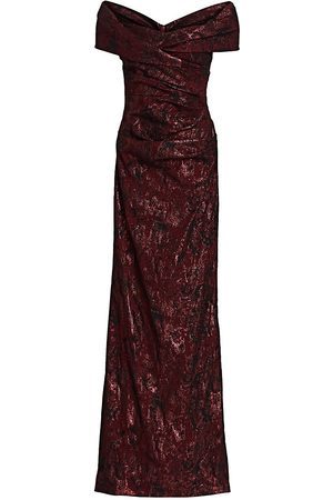 Teri Jon by Rickie Freeman Women Strapless Dresses - Off-The-Shoulder Metallic Jacquard Gown