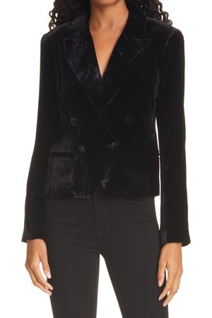 L'Agence Women's Rory Velvet Double Breasted Crop Blazer