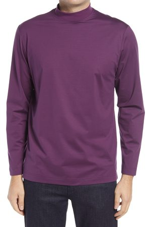 Bugatchi Men's Ooohcotton Long Sleeve Mock Neck Tech T-Shirt