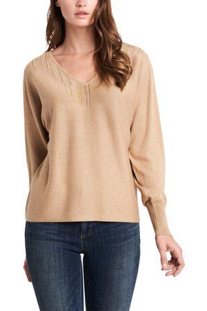 Vince Camuto Women's Embellished Cotton Blend V-Neck Sweater