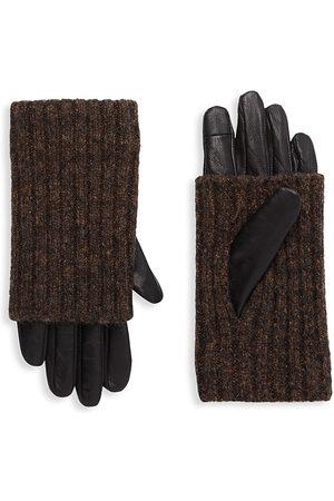 Carolina Amato Women's Touch Tech Leather & Knit Gloves - - Size Large