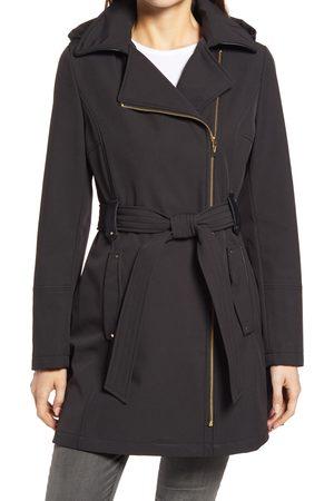 Via Spiga Women's Belted Water Resistant Hooded Trench Coat