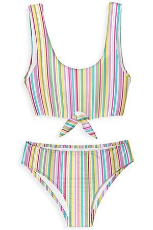 STELLA COVE Little Girl's & Girl's 2-Piece Rainbow Stripe Bikini Set