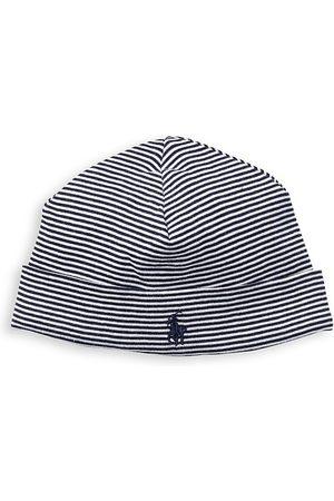 Ralph Lauren Hats - Baby's Striped Cotton Hat - Navy