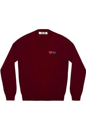 Comme des Garçons Women's Double Heart Play V-Neck Sweater - - Size XS