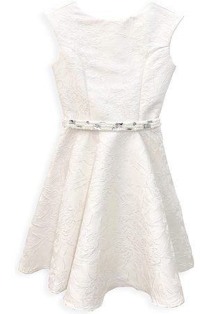 Un Deux Trois Girl's Cap-Sleeve Floral Belted Fit-&-Flare Dress - - Size 14