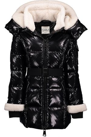 SAM. Girl's Soho Hooded Shearling Down Jacket - - Size 12