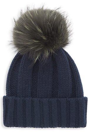 Raffaello Bettini Women's Fox Fur Pom-Pom Cabled Cashmere Beanie
